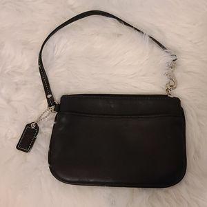 Coach black leather wristlet